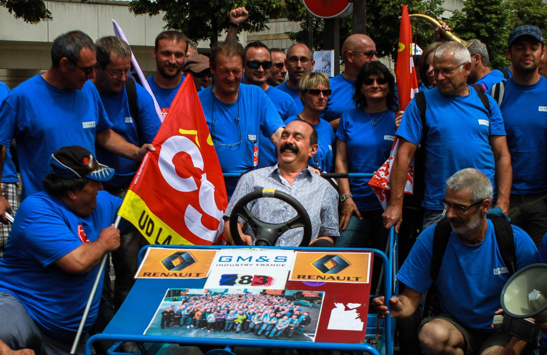Philippe Martinez lors d'une mobilisation de GM&S devant Bercy, Paris - Juin 2017