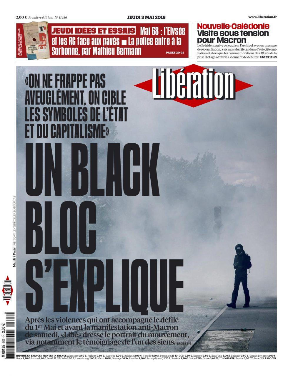 Une du journal Libération le 3 mai 2018