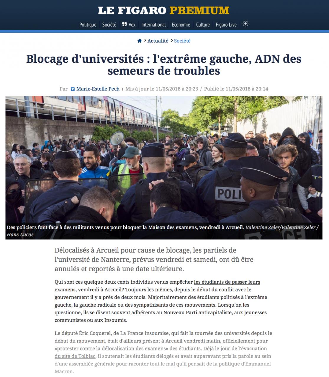 Parution dans le Figaro Web le 11 mai 2018