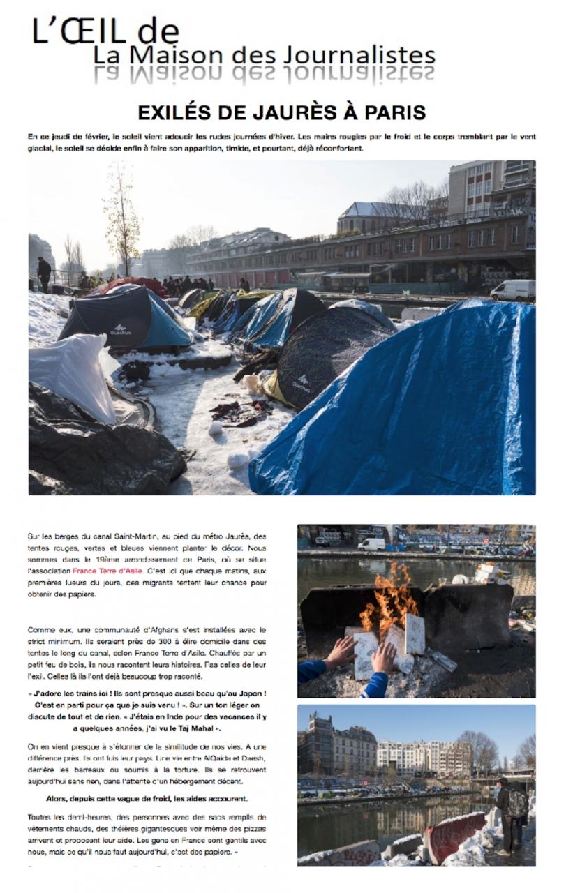 Publication photo et texte dans L'oeil de la Maison Des Journalistes en février 2018