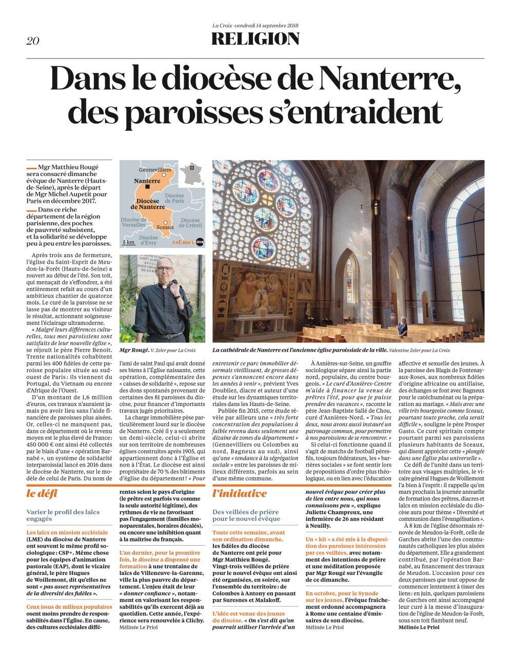 Publication dans le journal La Croix le 14 septembre 2018