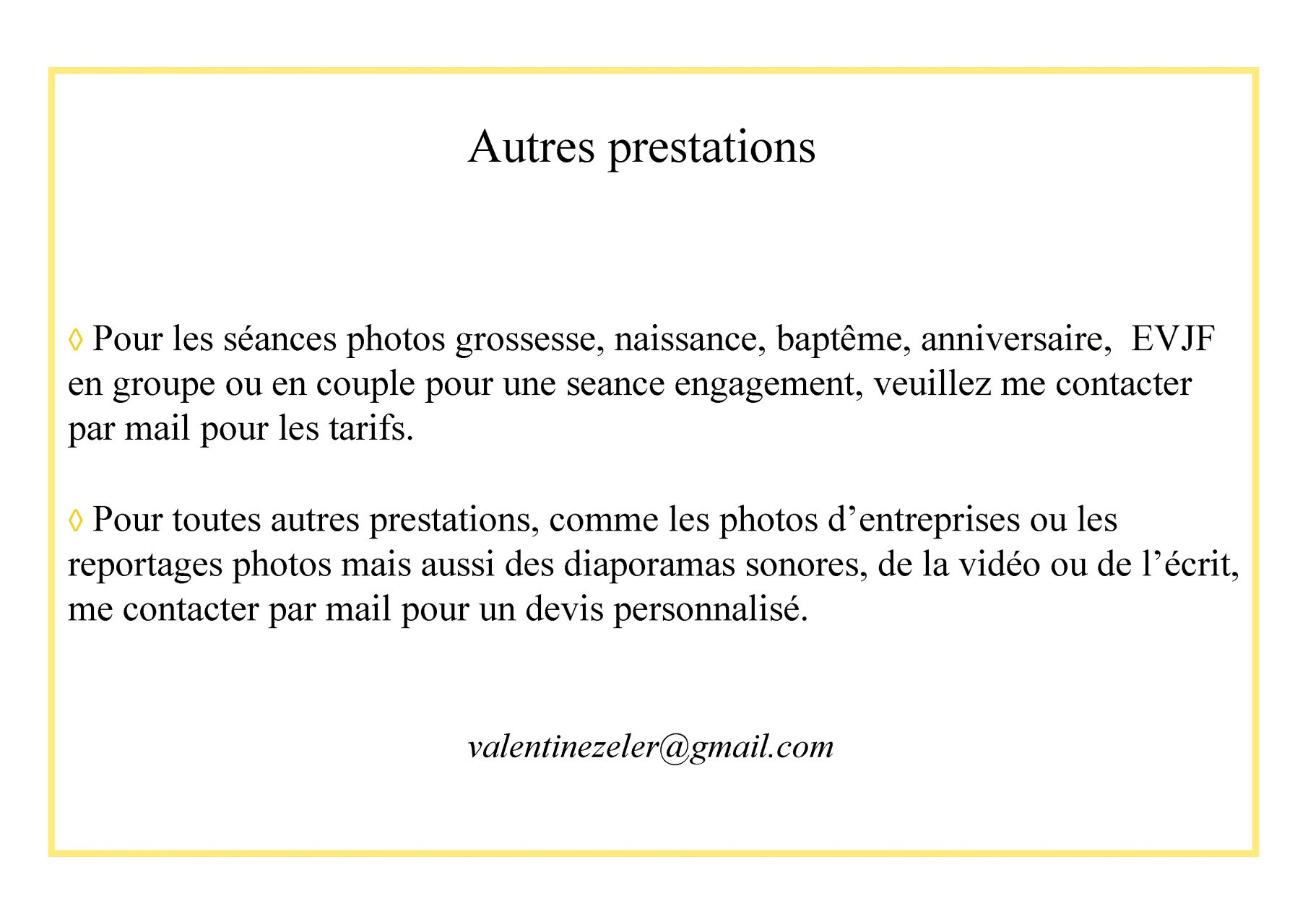 Autres prestations photos