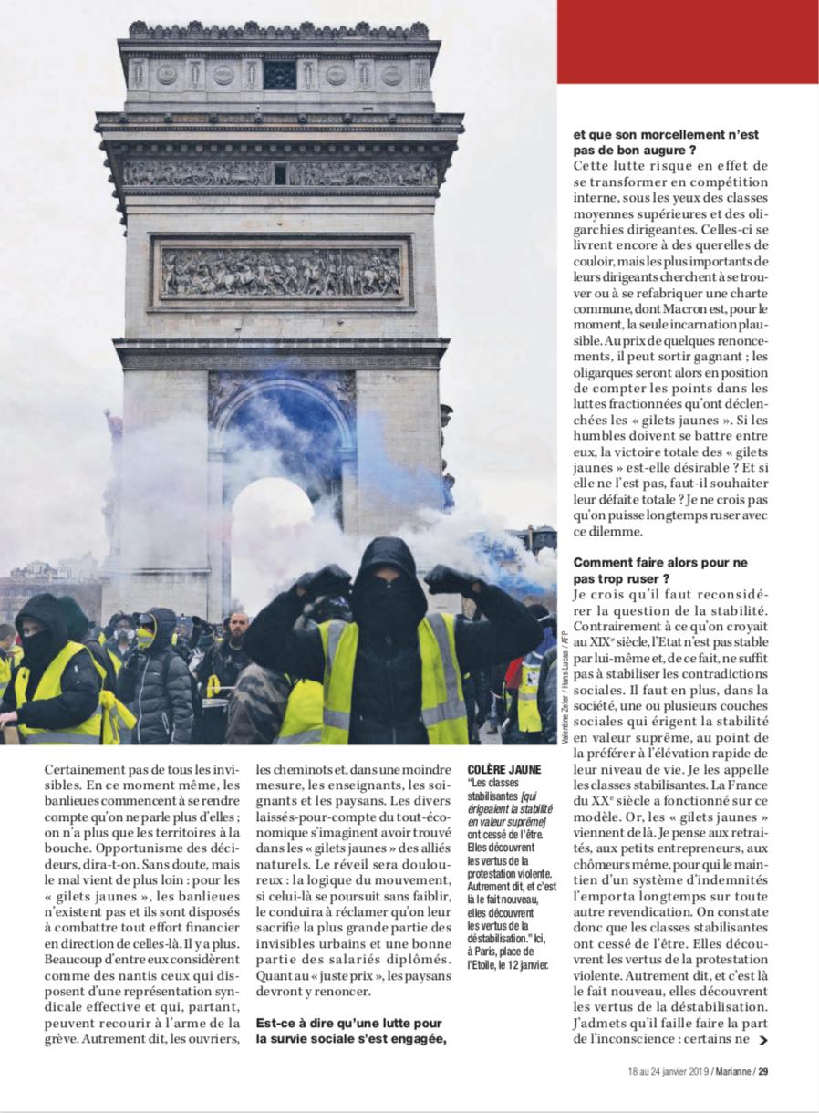 Publication dans le journal Marianne le 18 janvier 2019